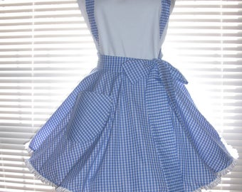Costume Apron Blue and White Gingham Check with White Retro Inspired Full Circular Skirt - Ready to Ship
