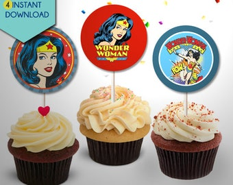 Wonder Woman Cake Topper, Wonder Woman Cupcake Toppers, Wonder Woman Centerpieces, Wonder Woman Cake Toppers, Wonder Woman Party Decor