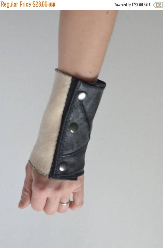 ON SALE Repurposed Leather Cuff - Wool and Leather Cuff Bracelet - OOAK Leather Cuff