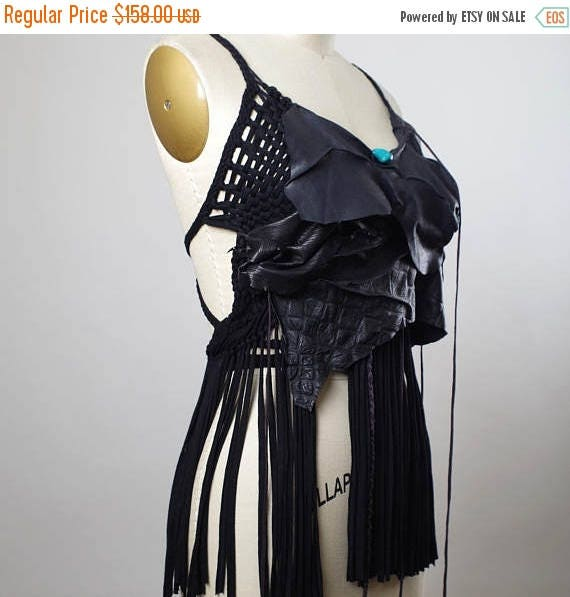 ON SALE Fringe Leather Top - Festival Clothing - Halter Tops - Burning Man Clothing - Gypsy Wrap Skirt - Burning Man