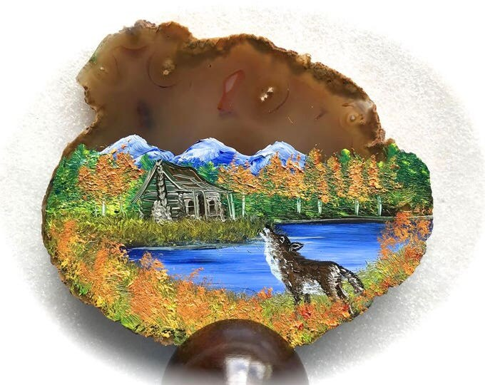 Hand Painted Brazilian Agate Fall Log Cabin and Wolf