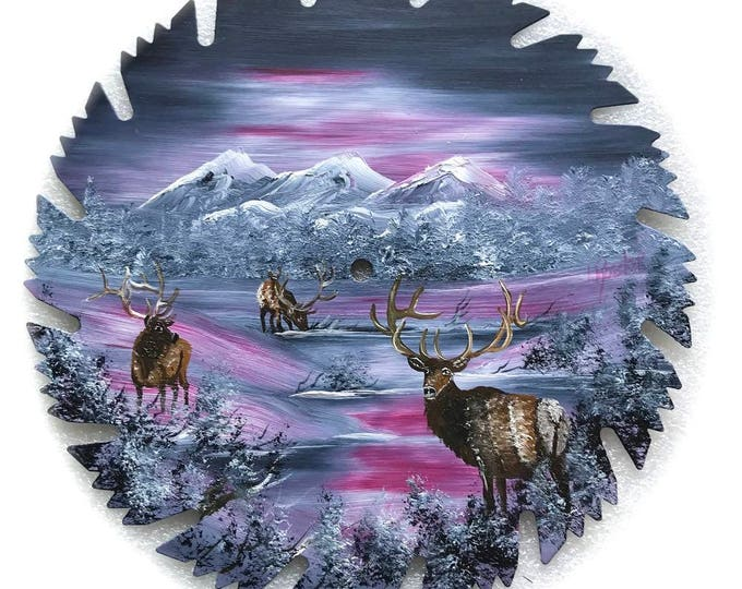 Hand Painted Saw Blade Mountain Gray and Mauve Winter Three Elk