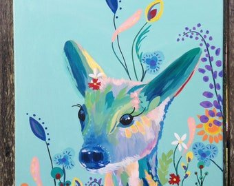 Colorful Deer Acrylic Painting