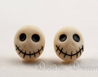Skull Earrings, Skull Stud Earrings, Skull Post Back Earrings, Halloween Earrings, Goth Halloween Jewelry, Polymer Clay Sugar Skull Earrings
