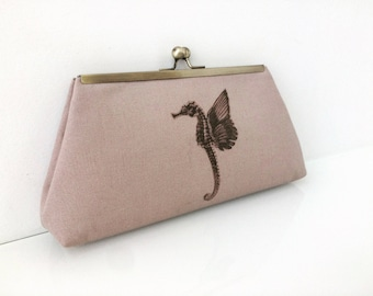 Winged Seahorse Print clutch, purse, evening bag, framed clutch, beige, brass finish kiss lock