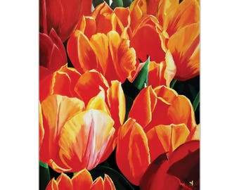 Traditional Wall Art 'Tulip Bonanza' by Cathy Pearson - Floral Decor Traditional Tulips Artwork on Metal or Plexiglass