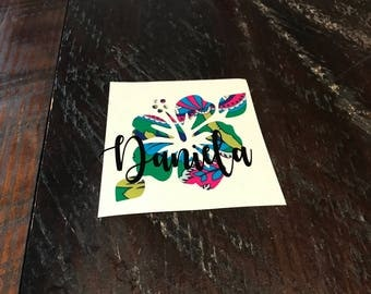 Hibiscus decal - hibiscus - hibiscus yeti decal - hibiscus rtic decal - flower decal - decal - yeti decal - rtic decal