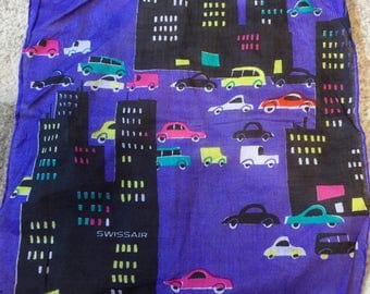 Vintage Swiss Air Purple Cotton Handkerchief or Hanky #1 Cars and Skyscrapers