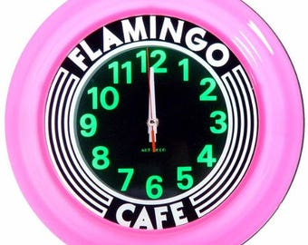 Flamingo Cafe Art Deco Wall clock Clock