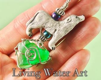 Wolf Necklace, Wolf Pendant, Wolf Jewelry, Wolf Gift, Wolf Totem, White Wolf, Ceramic Wolf Necklace, Handmade Wolf, Wolf Art