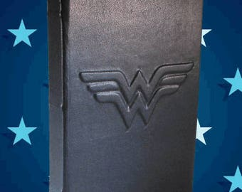 Classic Wonder Woman - Black Leather Journal or Sketchbook