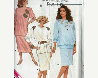 ON SALE VTG Misses Top & Straight Skirt Pattern, Butterick 5718, Sz 8-10-12 Uc/Ff