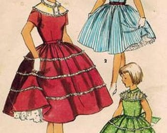 ON SALE Simplicity 4985 Girls Size 8 Dress Pattern, With Decorated Shoulders And Skirt, 1950's