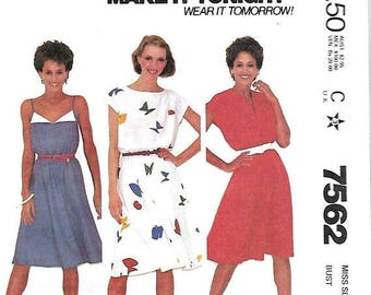 ON SALE McCall's 7562 Make It Tonight Misses Dresses Sewing Pattern, 8 & 14, UNCUT
