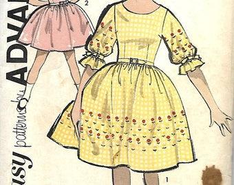 ON SALE Vtg 1950's Sew Easy Advance 2810 Girls Full Skirted Dress Pattern, Size 7