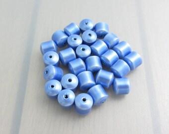 25 Blue Magnetic Hematite Beads, 8mm Cobalt Blue Drum Beads, Bead Destash