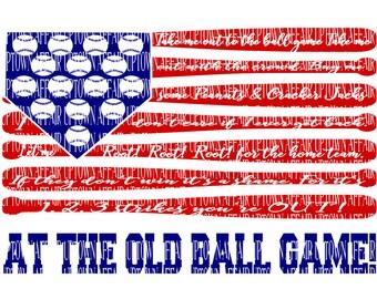 Take me Out to the Ball Game.  Flag Lyrics. Song Baseball   SVG/PNG Digital Cut File