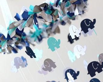 Elephant Mobile in Navy, Aqua, Gray, & White- Nursery Mobile Decor, Baby Shower Gift