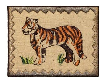 ID 0761 Tiger Picture Patch Zoo Badge Portrait Embroidered Iron On Applique