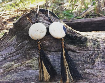 Tassel Earrings with Natural Earthy Porcelain / Ceramic Beads & Sterling Silver Earwires | Lightweight Macrame String / Textile Earrings