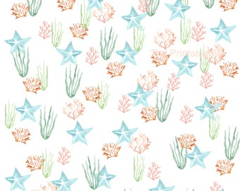 Printable Gift Wrap, Sea Life Gift Wrap, For Small Gifts, Jewelry Wrap, Digital Download, Coral Wrapping Paper, Starfish Gift Wrap