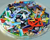 Mosaic Pieces, 3 + Pounds of Assorted Glass Scraps, Dichroic Cabochons, Handmade Glass Pieces, Glass Cabs, Beads, Cut Out Pieces & More!