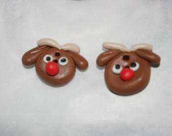 Reindeer Buttons. Polymer Clay Buttons. Set Of Two. Craft supplies. Hand made. Each button has two holes. Christmas Buttons.