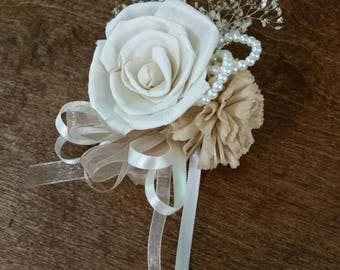 Wedding, Corsage, Sola Wood Corsage,Corsage, Ivory Cream Corsage, Mothers pin on corsage, Sola beige corsage, corsages