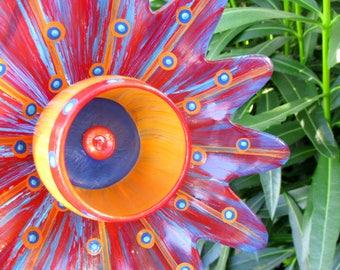 On Fire Reds - Orange & Blue Glass Plate Flower Garden Art - Home Decor - Hand Painted - Suncatcher - Garden Sculpture - Garden Decor