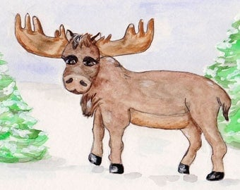 Moose Watercolor Print, North Woods Art, Kids Room Decor, Wildlife Painting, Animal Picture, Winter Snow Scene, Man Cave, Boy Cave