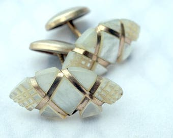 Antique Mother Of Pearl Strap Wire Wrap Cufflinks Gold Filled c. 1890-1910