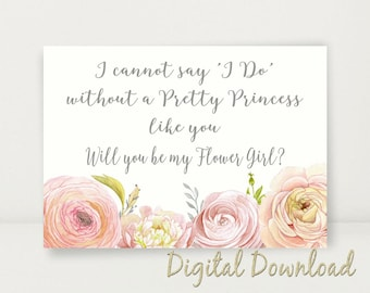 Will You Be My Flower Girl Proposal Pink Coral Cream Wedding Printable Cannot Say I Do Pretty Princess Instant download Digital File