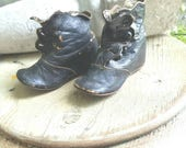 Antique Leather Baby Shoes, Boots, Button up Baby Shoes..