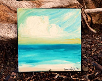 Seascape Canvas Art   Coastal Painting   Ocean Art   Beach Decor   6x6   Safe Haven   Saltons Cove Studio