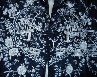 Antique Chinese embroidered silk jacket figures garden pagoda birds exotic flora butterflies hearts hand work monochrome 1920's
