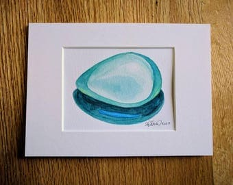 Quartz Egg, Matted Original Watercolor Painting, 5 x 7 with Mat Board, Ready to Frame
