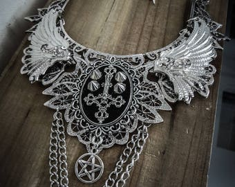 Silver pentagram cross spikes ♰ 666 INRI 666 ♰ lace bib necklace