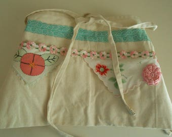 Half apron embellished with vintage trims for crafters vendors gifts