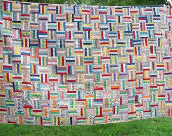 Colorful 30s/40s Hand Done Quilt Unused