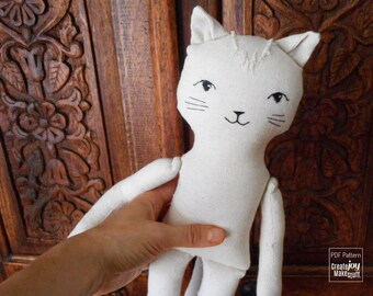 "18"" Cat Doll Sewing Pattern and Tutorial - Dress up, Girl, Boy, Toy, DIY, Cloth, Fabric, Cotton, Play, Sew, Gift, Step by step"