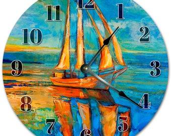 "10.5"" BOAT PAINTING Clock - Living Room Clock - Large 10.5"" Wall Clock - Home Décor Clock - 5129"