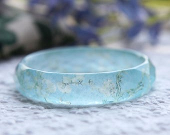Facetted resin bangle with embedded Vincent Van Gogh painting almond blossom