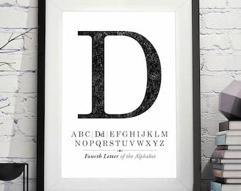 Letter D Printable, Letter D poster, Letter D Print, letter d monogram, initial d, monogram letter d printable, trendy monogram Printable