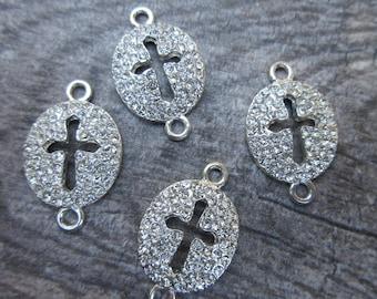 4pc Rhinestone Sideways Cross connectors silver tone 18mm x 30mm bracelet link rhinestone connector base metal nickle free