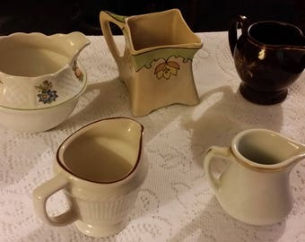 Antique & Vtg Creamers Royal Cauldon Shenango Japan Set of Five