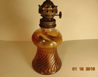 One (1), Vintage, Miniature, Glass Oil Lamp, with No Shade.