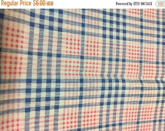 CIJ2017 Vintage Cotton Fabric, Blue and Red Plaid Print