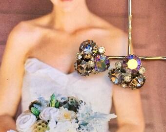 Grey Gray Weiss Decorative Hair Pins Vintage Regency Fantasy Bridal 1940 1950 Rhinestone Hairpins Bobby
