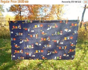 ON SALE Vintage Cotton Fabric, Denium Blue, Little Girl Hanging Clothes On The Line, Puppies, Kittens, Red, Yellow, Blue, Crafts, Sewing, Nu