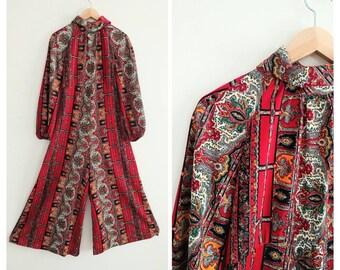 Vintage 1960s 1970s 70s Retro Paisley Print Jumpsuit Pantsuit Romper Onepiece Palazzo Pant